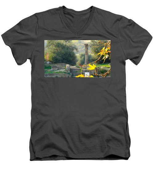 Men's V-Neck T-Shirt featuring the photograph Peace At Asclepion by Alan Lakin