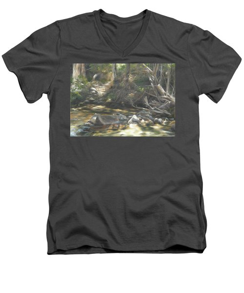Men's V-Neck T-Shirt featuring the painting Peace At Darby by Lori Brackett