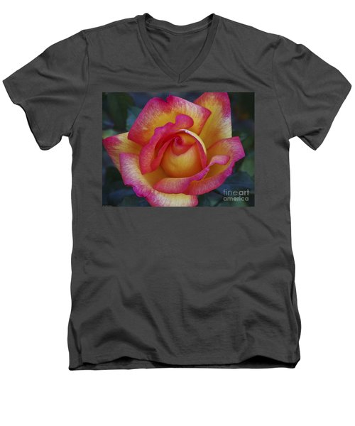 Peace In Floral Format Men's V-Neck T-Shirt by Kathy McClure