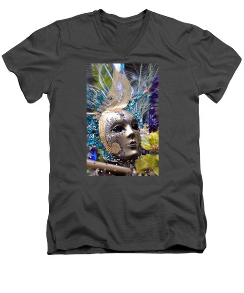 Peace In The Mask Men's V-Neck T-Shirt by Amanda Eberly-Kudamik