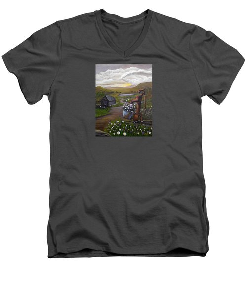 Men's V-Neck T-Shirt featuring the painting Peace In The Valley by Sheri Keith