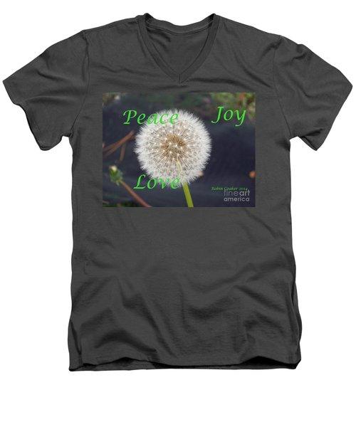 Peace Joy And Love Men's V-Neck T-Shirt by Robin Coaker