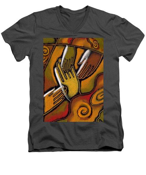 Peace Men's V-Neck T-Shirt by Leon Zernitsky