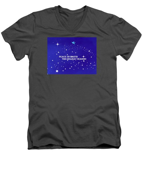 Peace On Earth Card Men's V-Neck T-Shirt by Kathy Barney