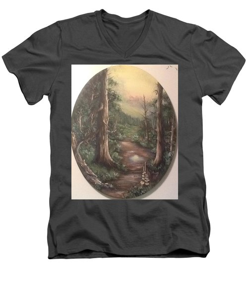 Men's V-Neck T-Shirt featuring the painting Peace Time by Megan Walsh