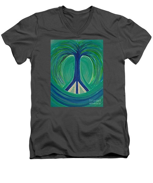 Peace Tree By Jrr Men's V-Neck T-Shirt