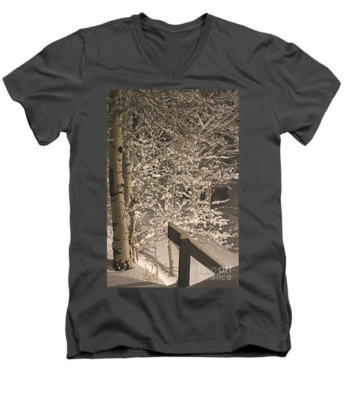 Men's V-Neck T-Shirt featuring the photograph Peaceful Blizzard by Fiona Kennard