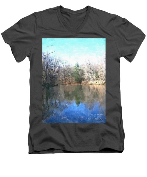 Men's V-Neck T-Shirt featuring the painting Peaceful Retreat 2 by Sara  Raber