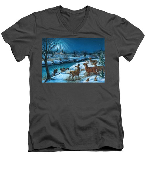 Peaceful Winters Night Men's V-Neck T-Shirt
