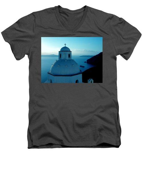Peacefull Santorini Greek Island  Men's V-Neck T-Shirt