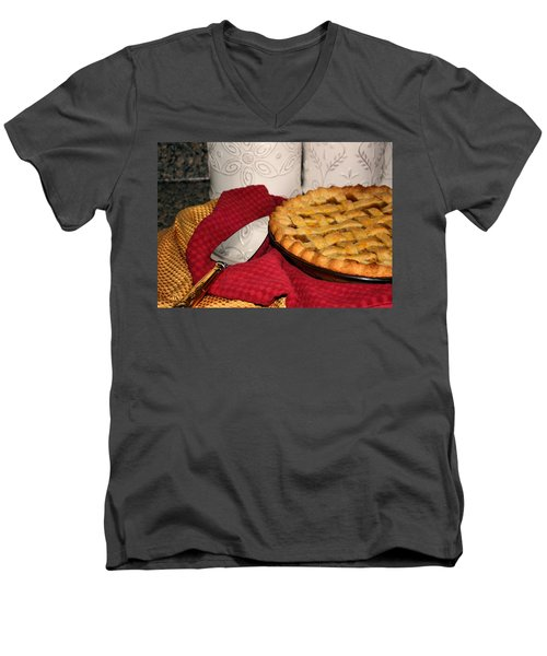 Men's V-Neck T-Shirt featuring the photograph Peach Pie by Kristin Elmquist