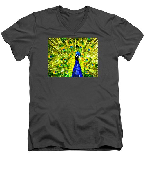 Peacock Abstract Realism Men's V-Neck T-Shirt