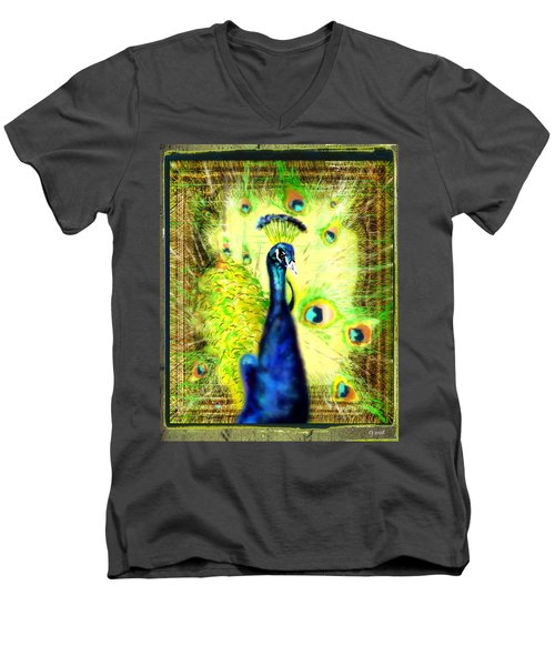Men's V-Neck T-Shirt featuring the drawing Peacock by Daniel Janda