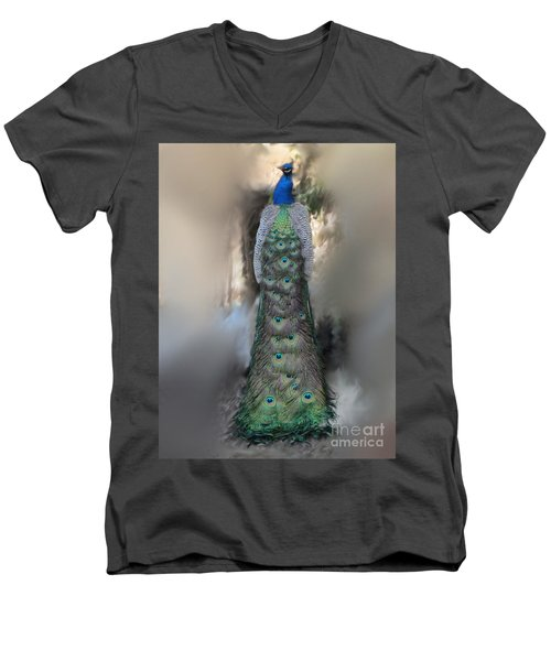 Peacock Men's V-Neck T-Shirt by Laurianna Taylor