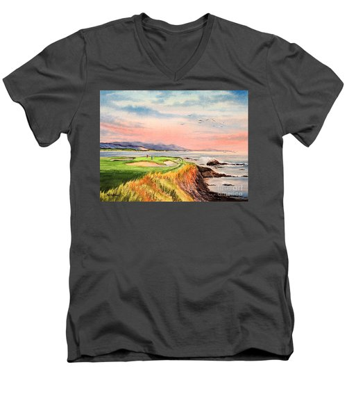 Men's V-Neck T-Shirt featuring the painting Pebble Beach Golf Course Hole 7 by Bill Holkham
