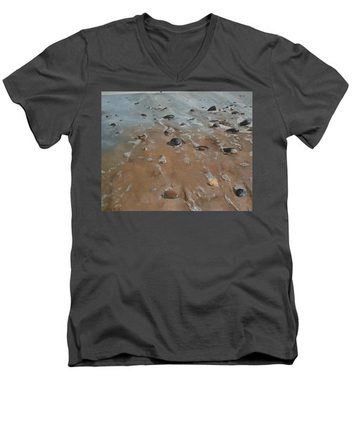 Men's V-Neck T-Shirt featuring the painting Pebbles by Cherise Foster