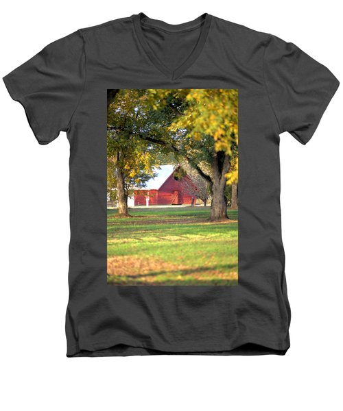 Men's V-Neck T-Shirt featuring the photograph Pecan Orchard Barn by Gordon Elwell