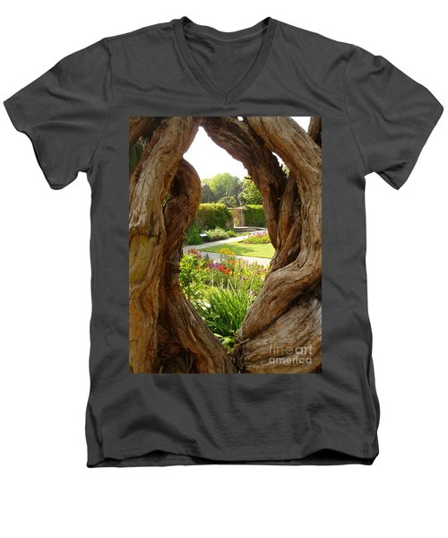 Men's V-Neck T-Shirt featuring the photograph Peek At The Garden by Vicki Spindler