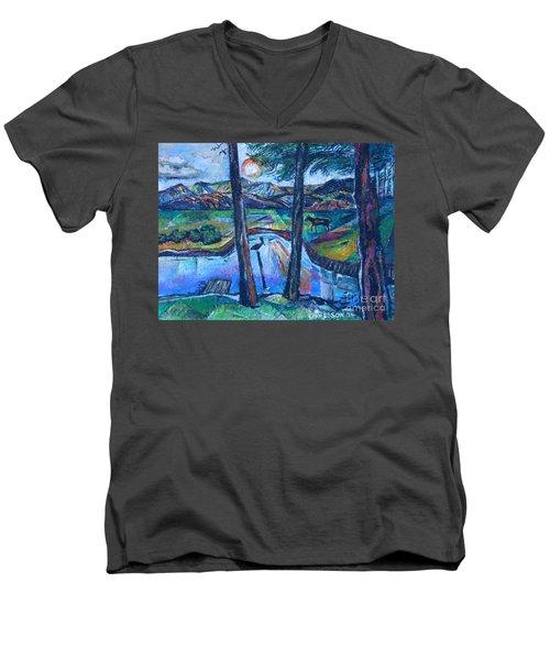 Pelican And Moose In Landscape Men's V-Neck T-Shirt