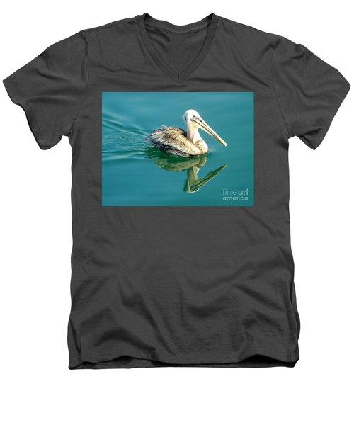 Pelican In San Francisco Bay Men's V-Neck T-Shirt by Clare Bevan