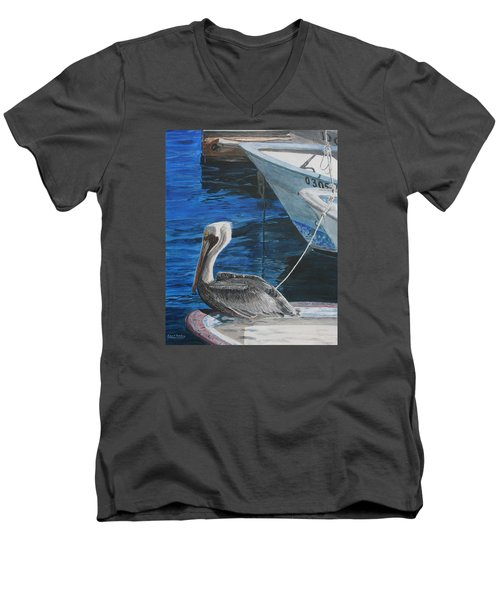 Men's V-Neck T-Shirt featuring the painting Pelican On A Boat by Ian Donley