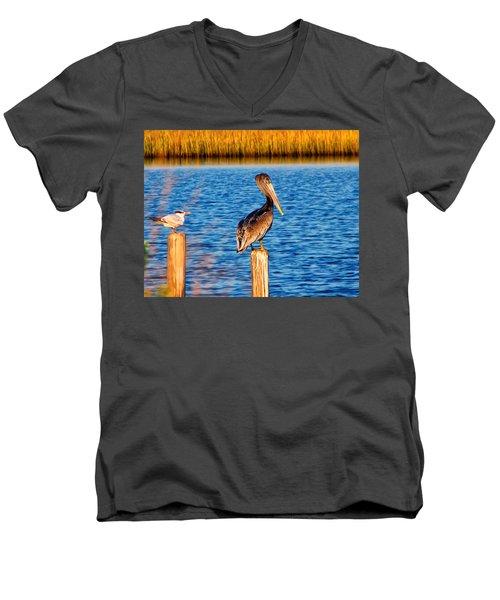 Pelican On A Pole Men's V-Neck T-Shirt