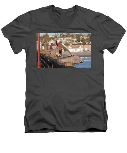 Pelican Sitting On Pier  Men's V-Neck T-Shirt