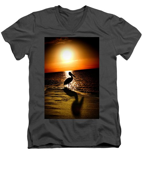Men's V-Neck T-Shirt featuring the photograph Pelican Sunrise by Yew Kwang