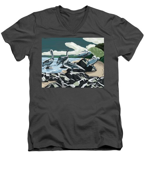 Men's V-Neck T-Shirt featuring the painting Pelicans And Friends At Seashore by Tim Gilliland