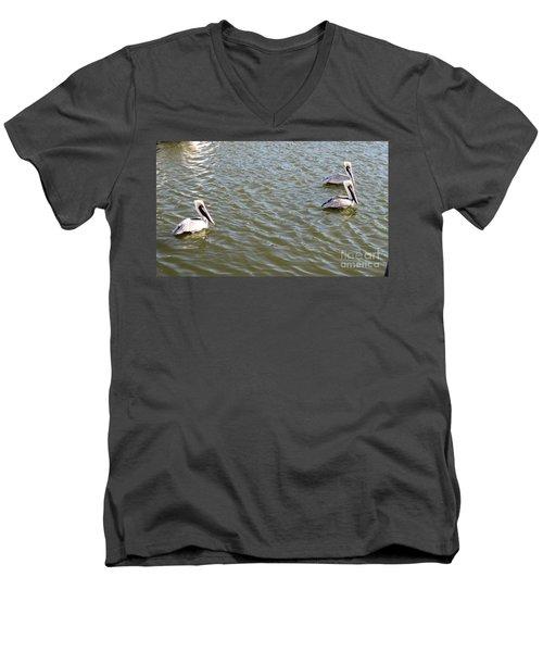 Men's V-Neck T-Shirt featuring the photograph Pelicans In Florida by Oksana Semenchenko