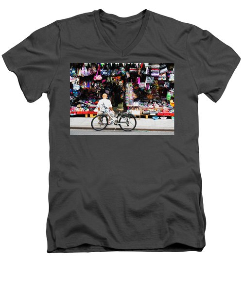 Men's V-Neck T-Shirt featuring the photograph Pell St. Chinatown  Nyc by Joan Reese
