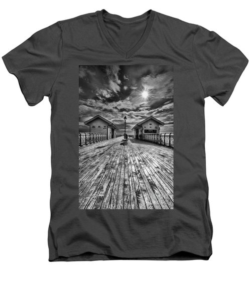 Penarth Pier 2 Monochrome Men's V-Neck T-Shirt