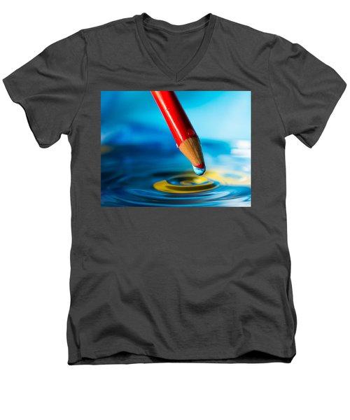 Pencil Water Drop Men's V-Neck T-Shirt