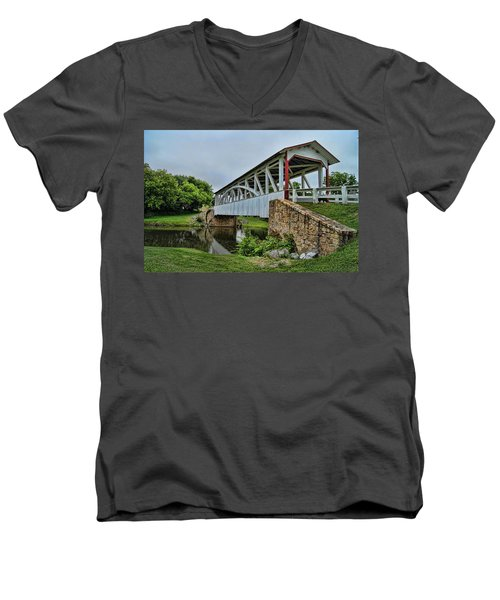 Pennsylvania Covered Bridge Men's V-Neck T-Shirt by Kathy Churchman