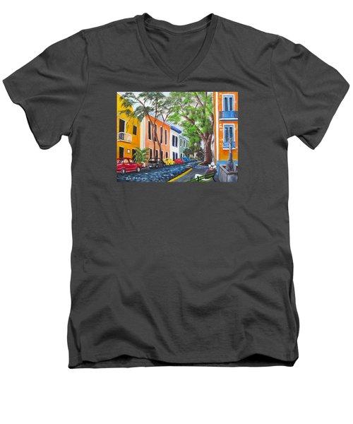 Pensando En El Viejo San Juan Men's V-Neck T-Shirt by Luis F Rodriguez