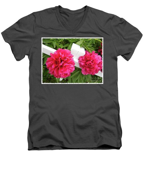 Men's V-Neck T-Shirt featuring the photograph Peonies Resting On White Fence by Barbara Griffin
