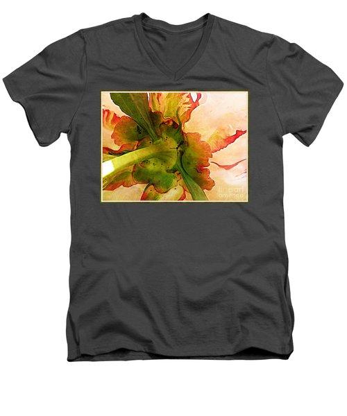 Peony Flirt Men's V-Neck T-Shirt by Jolanta Anna Karolska
