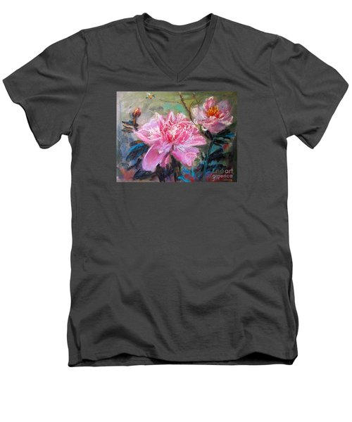 Men's V-Neck T-Shirt featuring the painting Peony by Jieming Wang