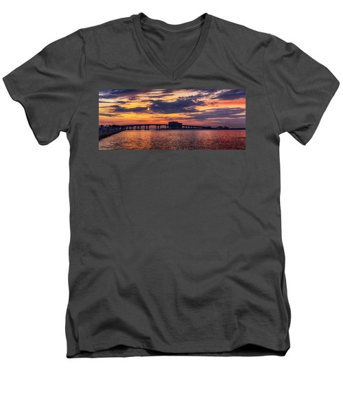 Men's V-Neck T-Shirt featuring the digital art Perdido Bridge Sunrise by Michael Thomas