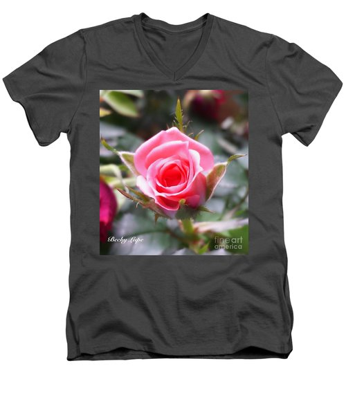 Perfect Rosebud In True Color Men's V-Neck T-Shirt by Becky Lupe