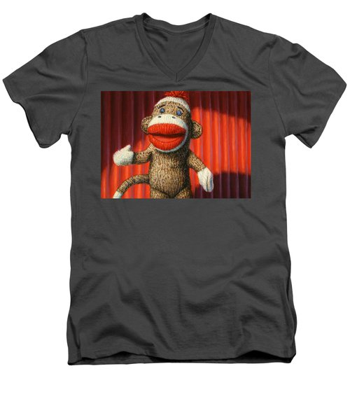 Performing Sock Monkey Men's V-Neck T-Shirt