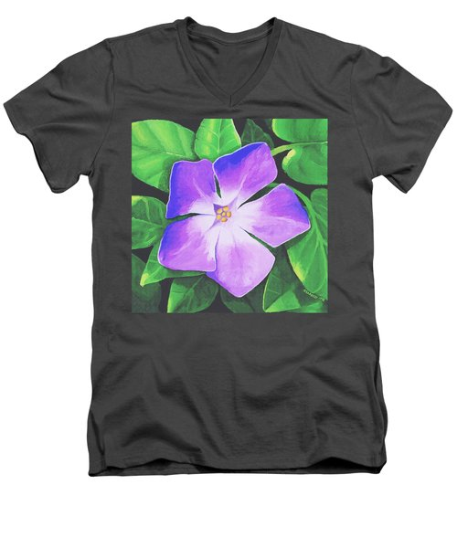 Periwinkle Men's V-Neck T-Shirt by Sophia Schmierer