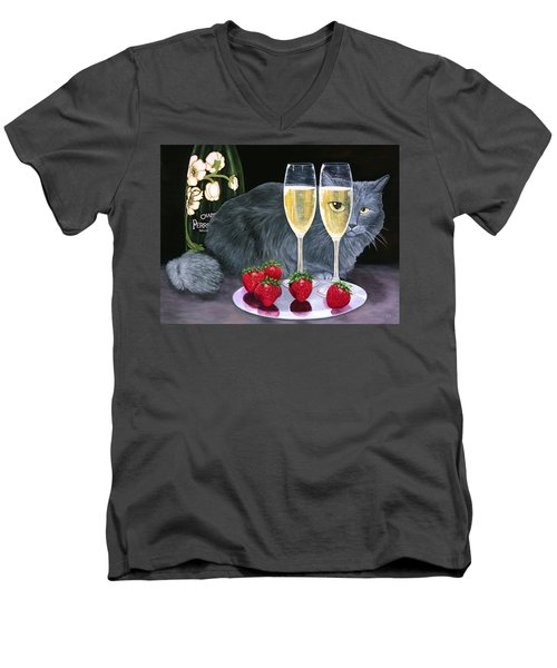 Perrier Jouet Et Le Chat Men's V-Neck T-Shirt