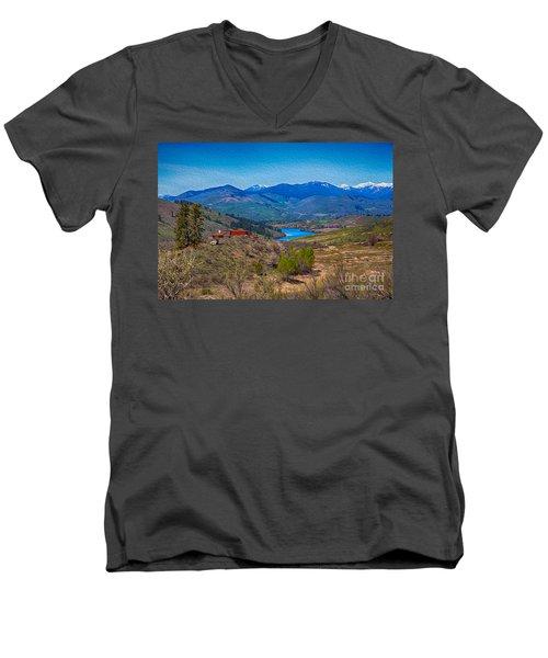 Perrygin Lake In The Methow Valley Landscape Art Men's V-Neck T-Shirt