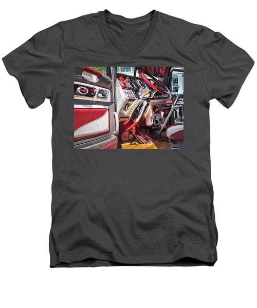 Peterbilt Interior Men's V-Neck T-Shirt by Theresa Tahara