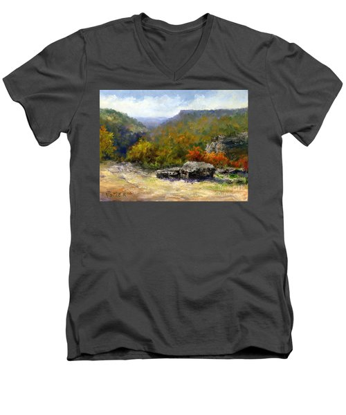 Petit Jean View From Mather Lodge Men's V-Neck T-Shirt