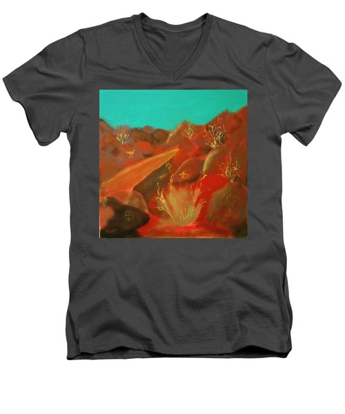 Men's V-Neck T-Shirt featuring the painting Petroglyph Park by Keith Thue