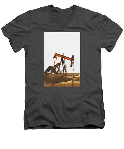 Petroleum Pumping Unit Men's V-Neck T-Shirt by Art Block Collections