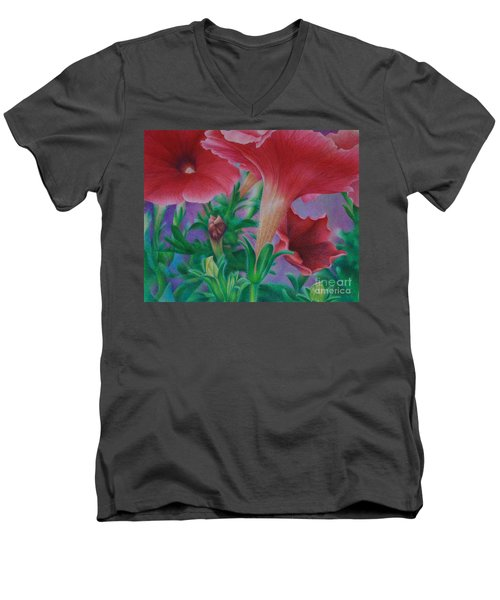 Men's V-Neck T-Shirt featuring the painting Petunia Skies by Pamela Clements
