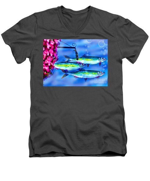 Petunia's And Sky Fish Bubbles Men's V-Neck T-Shirt by Patricia L Davidson